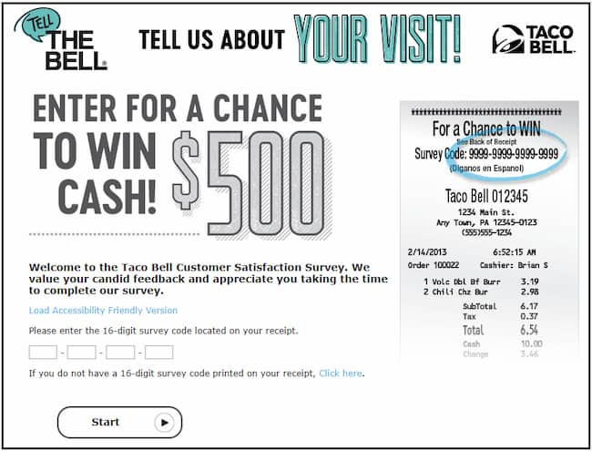 TelltheBell.com: Take Taco Bell Feedback Survey & Win $500 Cash
