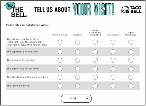 Take Official Taco Bell® Survey