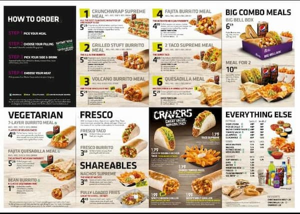 taco bell lunch menu hours